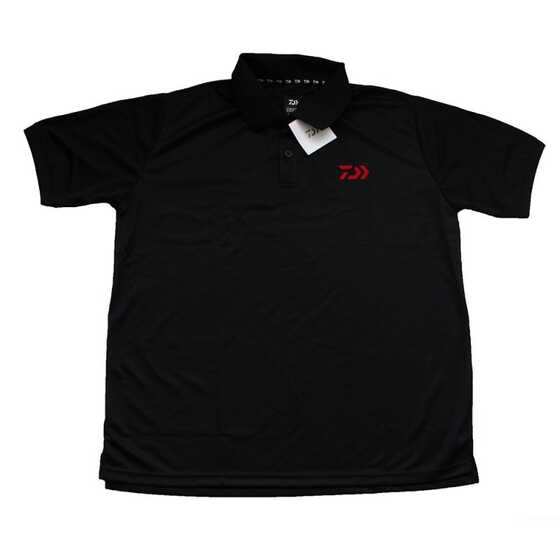 Daiwa Polo Manches Courtes Noires - Logo Rouge